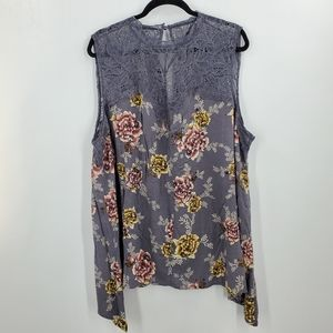Torrid High Lo Floral Blouse Spring Lace Sleeveles